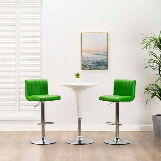 shumee Barski stolčki 2 kosa zeleno umetno usnje