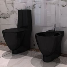 shumee Čierna keramická toaleta a bidet