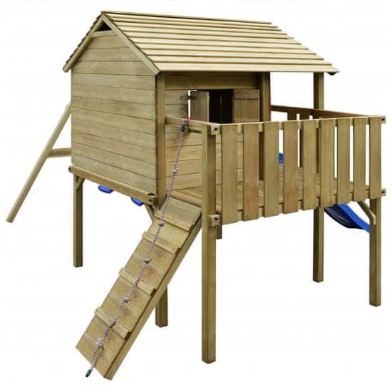 shumee Hrací věž, set s žebříkem, skluzavkou a houpačkami 480x440x294 cm dřevo
