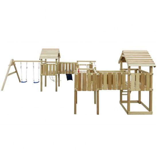 shumee Dětské hřiště, žebříky, skluzavka, houpačky 800x615x294cm dřevo