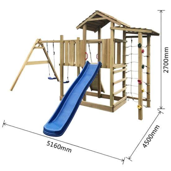 shumee Hrací věž + skluzavka, žebřík a houpačky 516x450x270 cm dřevo