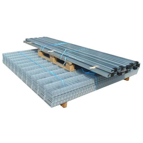 shumee 2D Panele i słupki ogrodzeniowe 2008x1830 mm 18 m srebrne