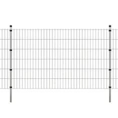 shumee 2D Panele i słupki ogrodzeniowe 2008x1230 mm 12 m srebrne