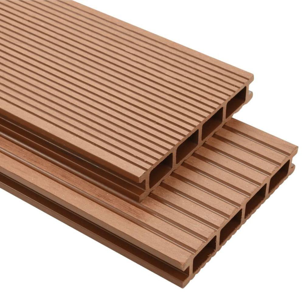 WPC podlahová prkna na terasu + příslušenství 20 m² 2,2m hnědá