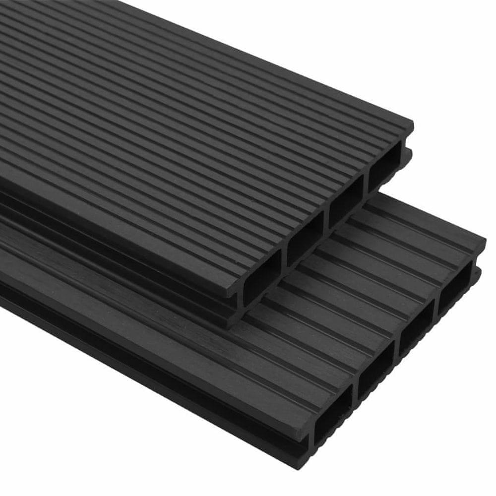 WPC terasová prkna + příslušenství 36 m² 2,2 m antracitová