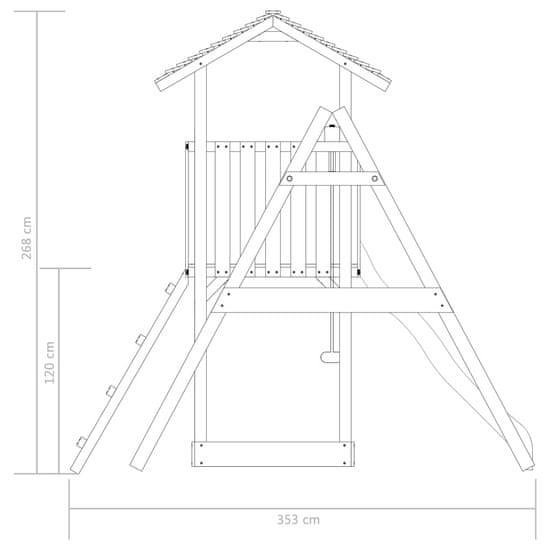 shumee Hřiště se skluzavkou, žebříkem a houpačkami 385x353x268cm dřevo