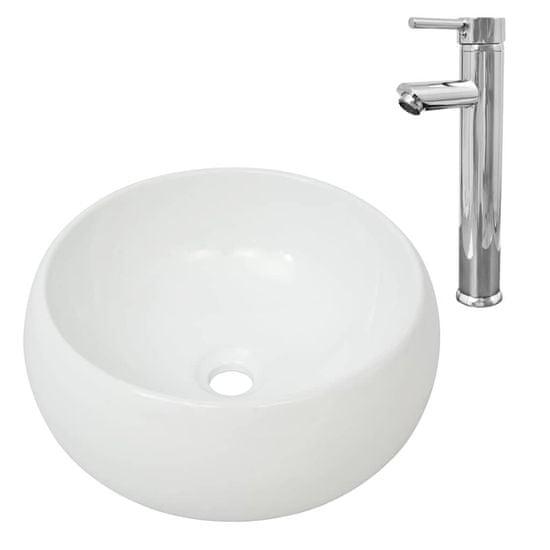 shumee Umywalka z baterią mieszającą, ceramiczna, okrągła, biała