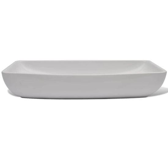 shumee Umywalka z baterią mieszającą, ceramiczna, prostokątna, biała