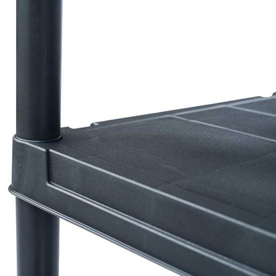 shumee fekete műanyag tároló polc 200 kg 80 x 40 x 138 cm