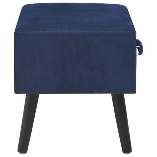shumee 2 db kék bársony éjjeliszekrény 40 x 35 x 40 cm