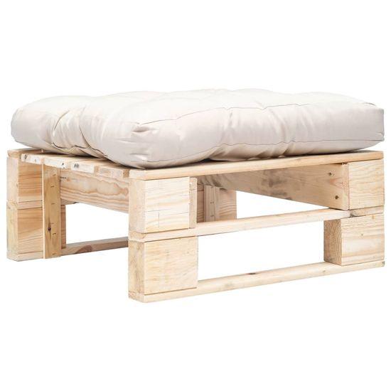 shumee Ogrodowy puf z palet, piaskowa poduszka, naturalne drewno