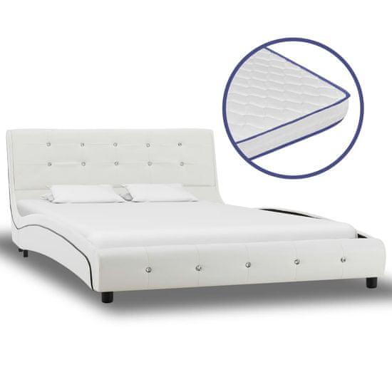 shumee Postel s matrací z paměťové pěny bílá umělá kůže 120 x 200 cm