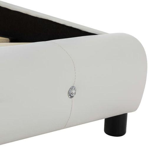 shumee Postelja z vzmetnico belo umetno usnje 180x200 cm