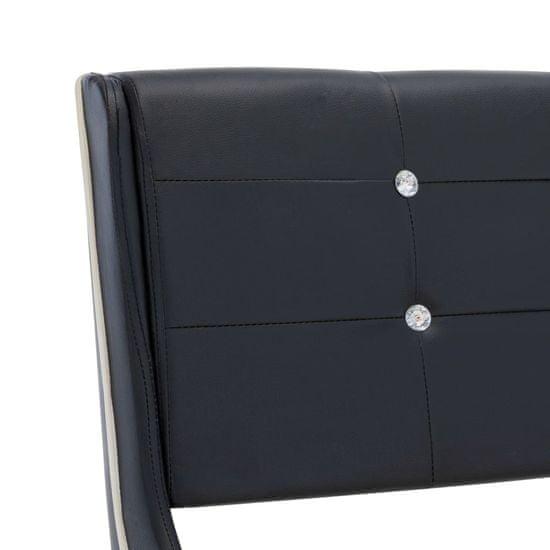 shumee Postelja z vzmetnico črno umetno usnje 160x200 cm
