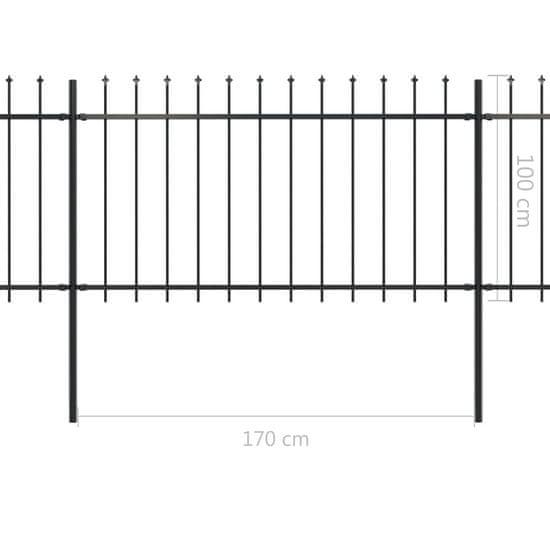shumee Vrtna ograja s koničastimi vrhovi jeklo 6,8x1 m črna