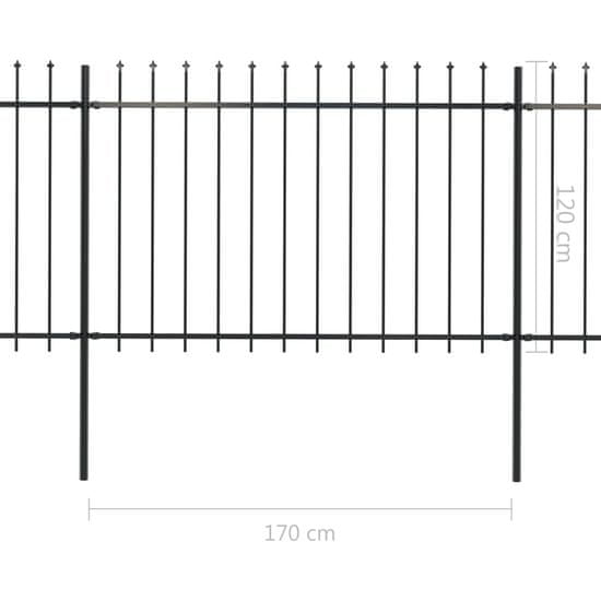 shumee Ogrodzenie z prętów z grotami, stalowe, 5,1 x 1,2 m, czarne