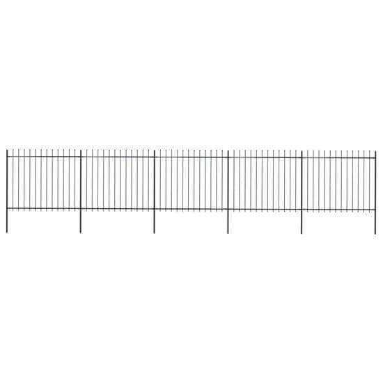 shumee Vrtna ograja s koničastimi vrhovi jeklo 8,5x1,5 m črna