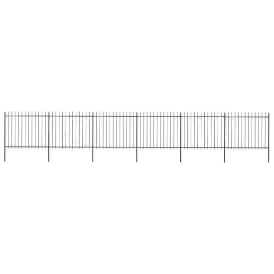shumee Vrtna ograja s koničastimi vrhovi jeklo 10,2x1,5 m črna