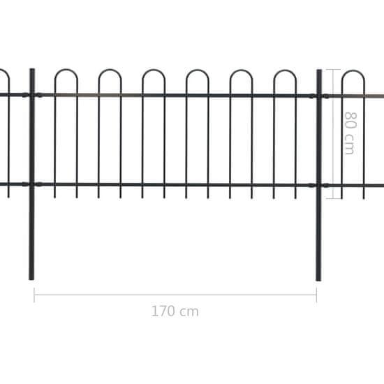 shumee Ogrodzenie z zaokrąglonymi końcami, stalowe, 13,6x0,8 m, czarne