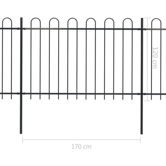 shumee Ogrodzenie z zaokrąglonymi końcami, stalowe, 3,4x1,2 m, czarne