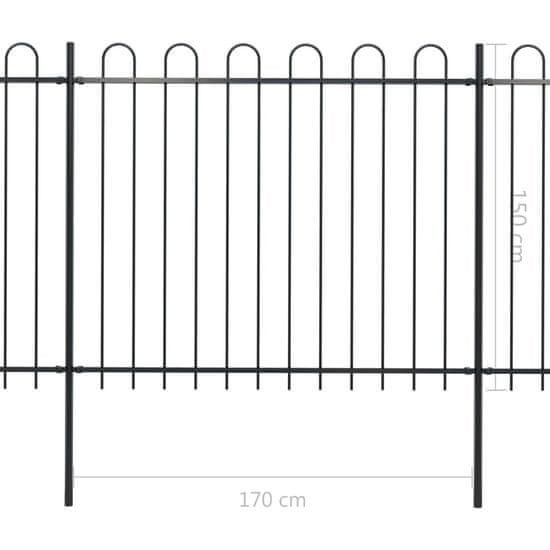 shumee Ogrodzenie z zaokrąglonymi końcami, stalowe, 3,4x1,5 m, czarne