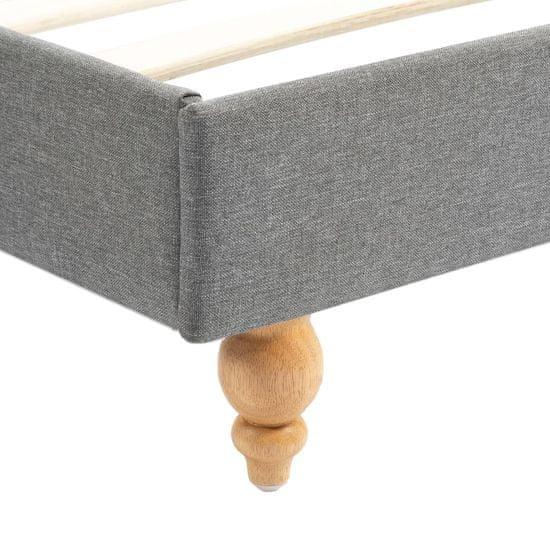 shumee Posteljni okvir z LED osvetlitvijo svetlo sivo blago 90x200 cm