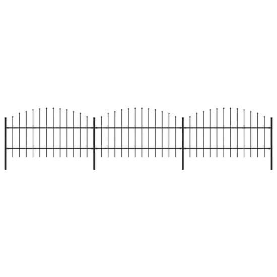 shumee Panele ogrodzeniowe z grotami, stal, (0,75-1) x 5,1 m, czarne