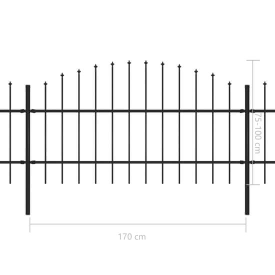 shumee Panele ogrodzeniowe z grotami, stal, (0,75-1)x11,9 m, czarne