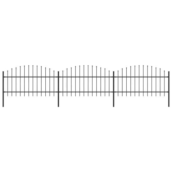 shumee Vrtna ograja s koničastimi vrhovi jeklo (1-1,25)x5,1 m črna