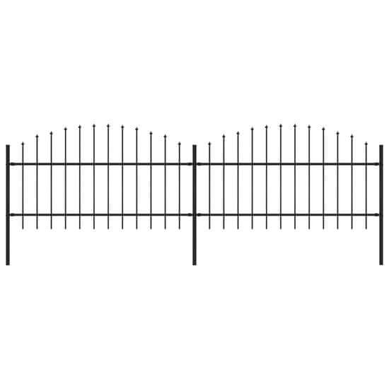Greatstore Záhradný plot s hrotmi, oceľ (1-1,25)x3,4 m, čierny