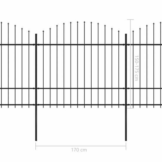shumee Panele ogrodzeniowe z grotami, stal, (1,5-1,75) x 3,4 m, czarne