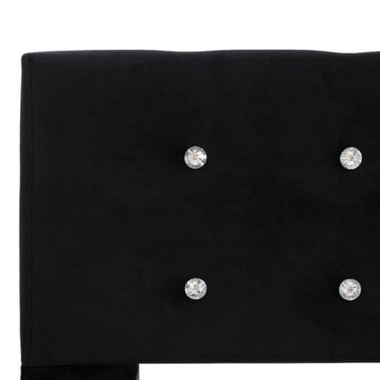 shumee Postelja z vzmetnico črn žamet 90x200 cm