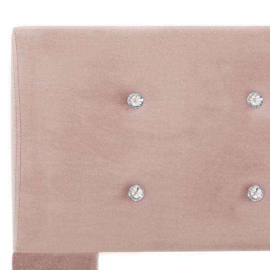 shumee Posteljni okvir roza žamet 140x200 cm