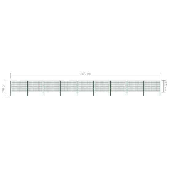 shumee Panel ogrodzeniowy ze słupkami, żelazny, 15,3 x 1,2 m, zielony