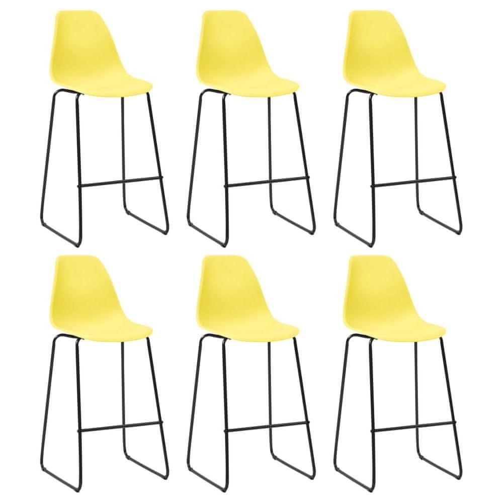 Barové židle 6 ks žluté plast