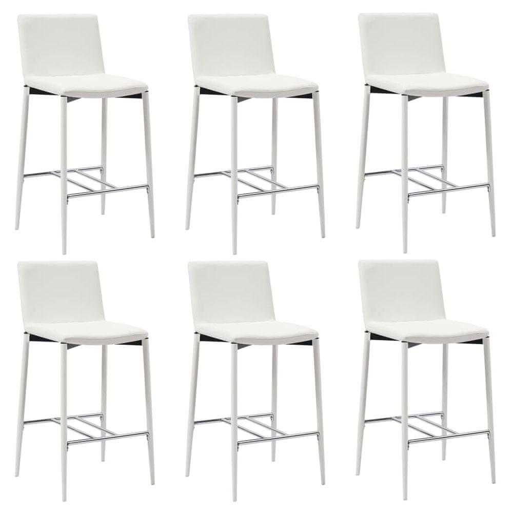 Barové židle 6 ks bílé umělá kůže