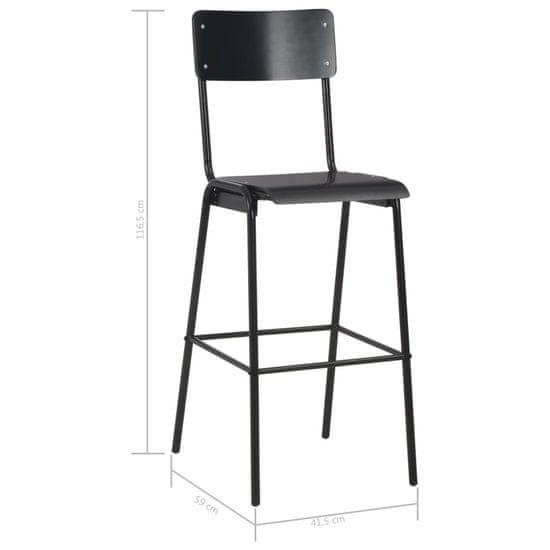 shumee Barski stolčki 6 kosov črni trden vezan les in jeklo
