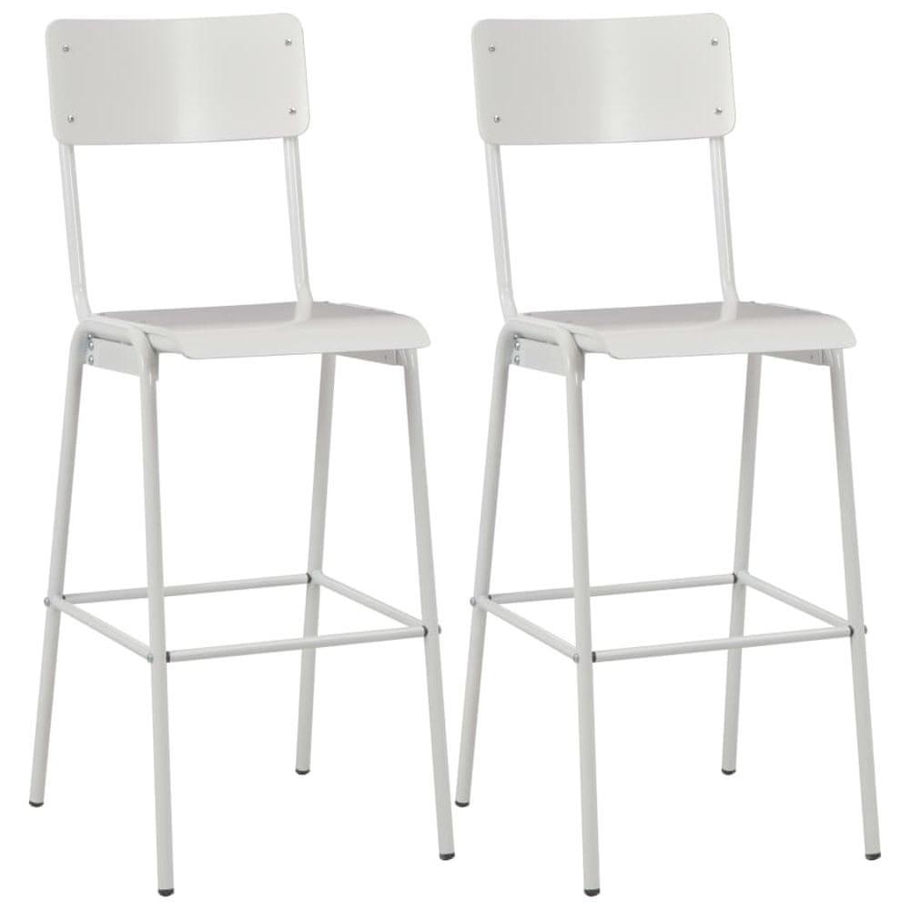 Barové židle 2 ks bílé masivní překližka a ocel