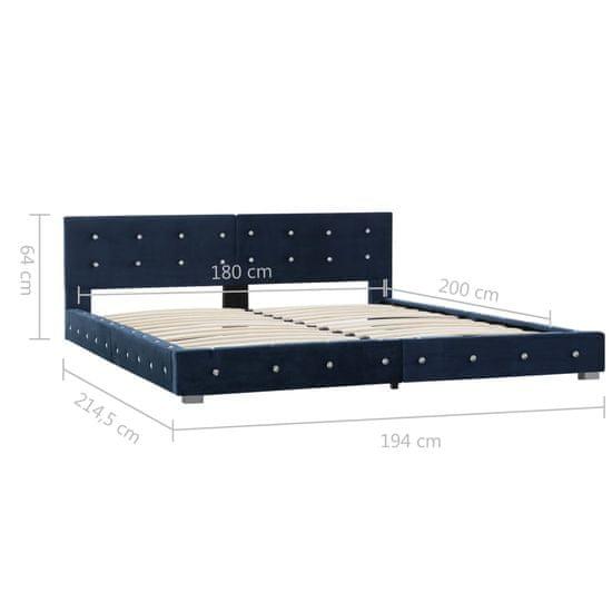 shumee Posteľný rám modrý 180x200 cm zamatový