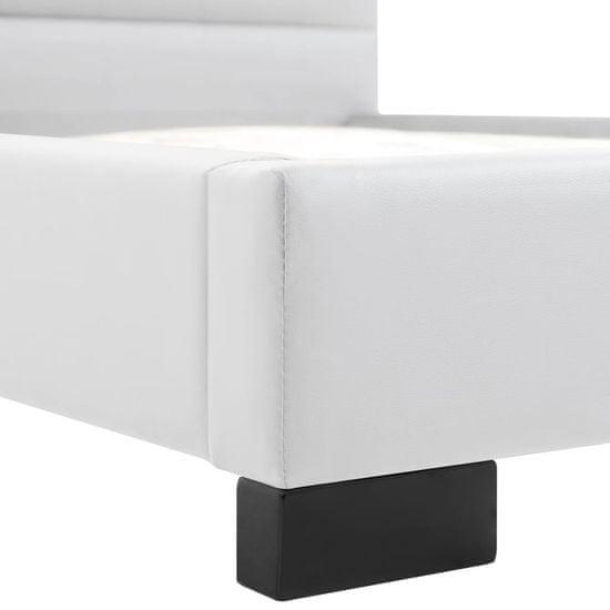 shumee Posteljni okvir iz belega umetnega usnja 140x200 cm