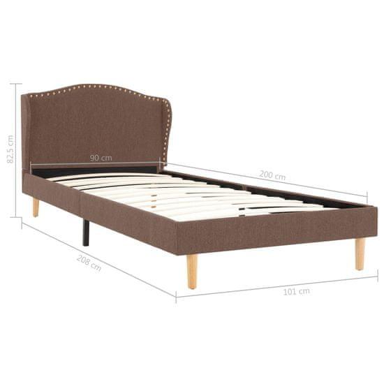 shumee barna szövetkárpitozású ágykeret 90 x 200 cm