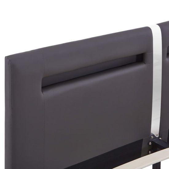 shumee Posteljni okvir LED sivo umetno usnje 180x200 cm