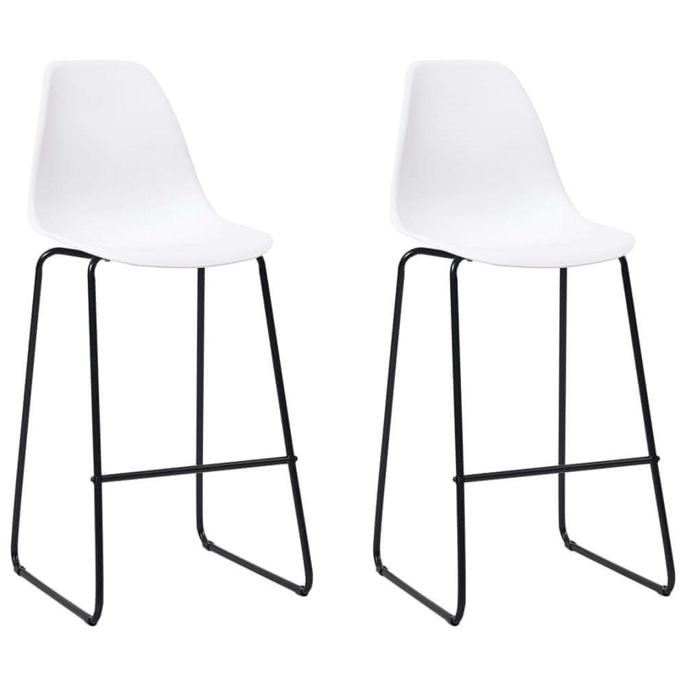 Barové židle 2 ks bílé plast