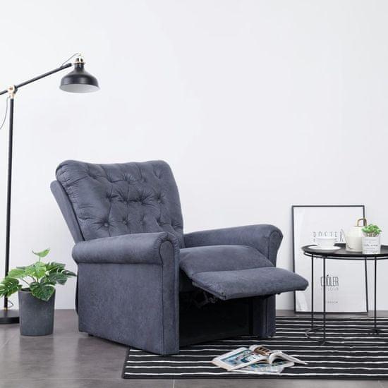 shumee Rozkładany fotel masujący, szary, sztuczny zamsz
