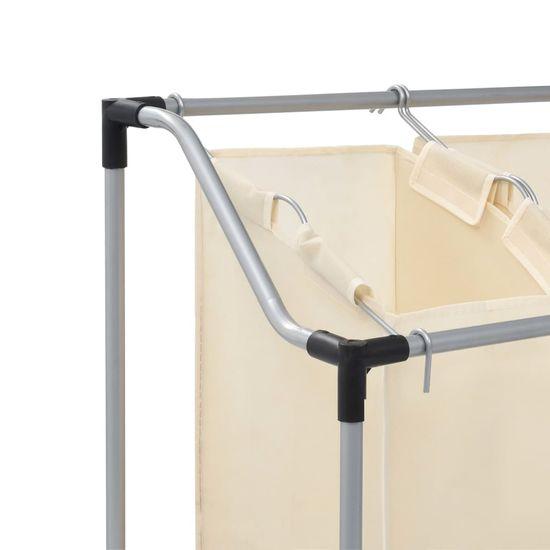 shumee Koš za sortiranje perila s 3 vrečami krem jeklo
