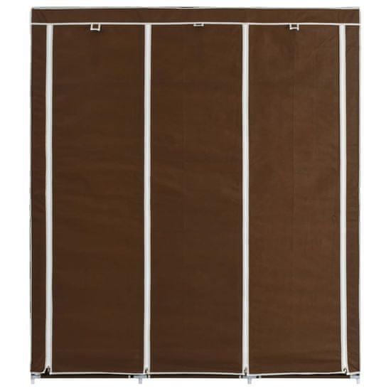 shumee Szafa z przegrodami i drążkami, brązowa, 150x45x175 cm, tkanina