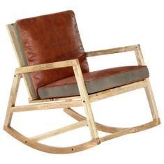 shumee Gugalni stol rjavo pravo usnje in trden mangov les