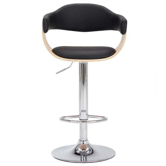 shumee Barski stolčki 2 kosa črni ukrivljen les in umetno usnje