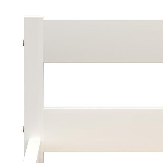 shumee Posteljni okvir z 2 predaloma bela trdna borovina 90x200 cm
