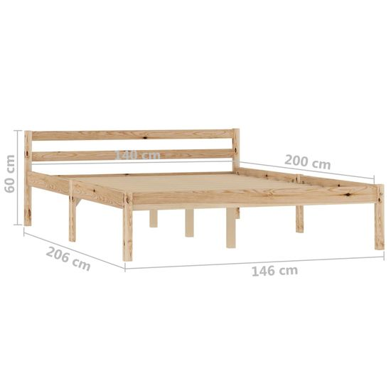shumee tömör fenyőfa ágykeret 140 x 200 cm